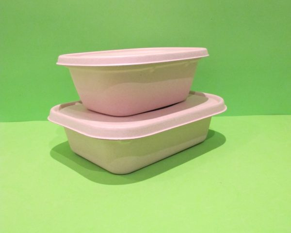 Bowl 48 oz y 60 oz + tapa rectangular Bagazo de trigo