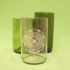 vasos de botellas de vidrio RECICLADAS
