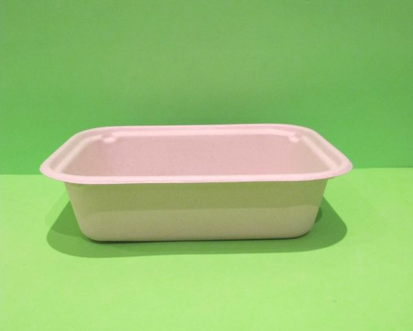 Bowl + tapa 48 oz rectangular Bagazo de trigo