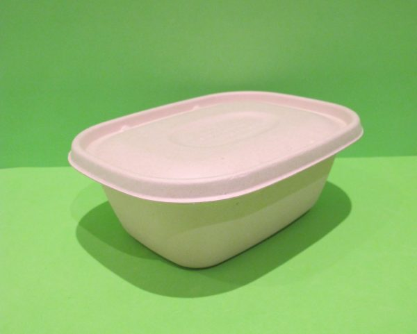 Bowl + tapa 60 oz rectangular Bagazo de trigo