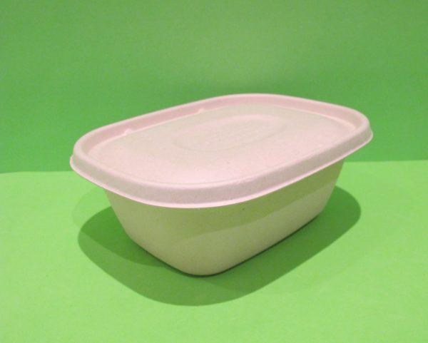 Bowl + tapa 60 oz rectangular Bagazo de trigo