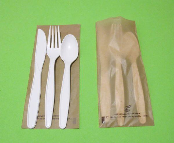Cubiertos estuchados biodegradables