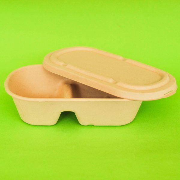 bowl rectangular con divisiones bagazo trigo