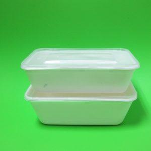 Bowl rectangular con tapa transparente