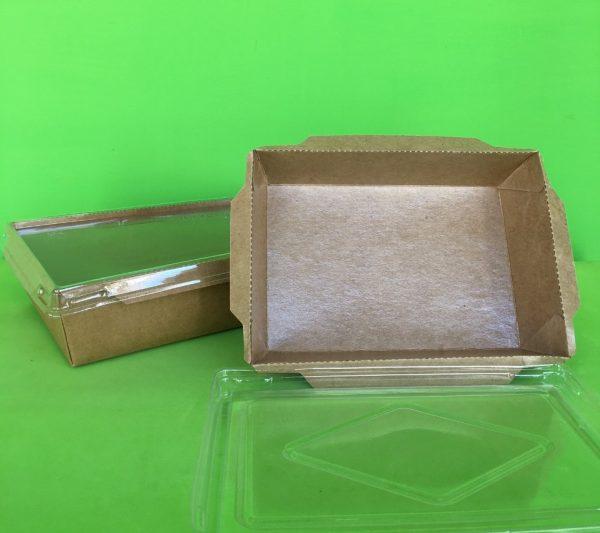 bandeja papel kraft + tapa PET 2